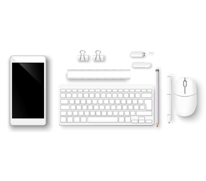 white iphone keyboard and office supplies with white background